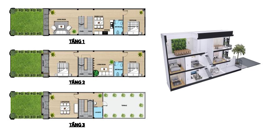 Thiết kế nhà phố Louis Resident