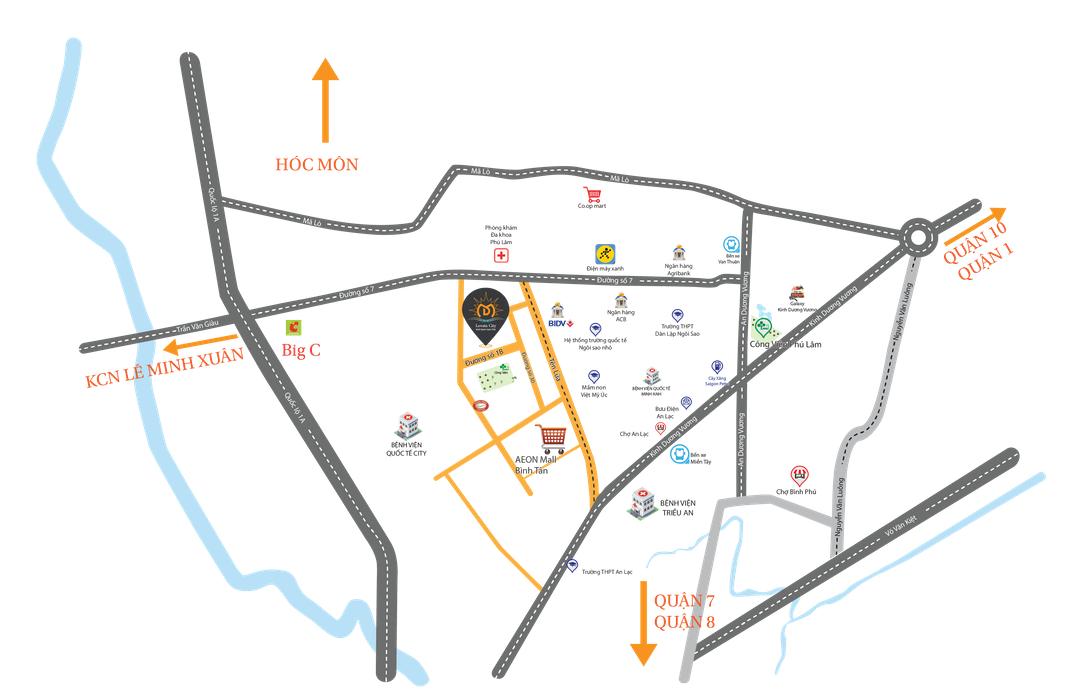 Vị trí dự án Levata City Bình Tân