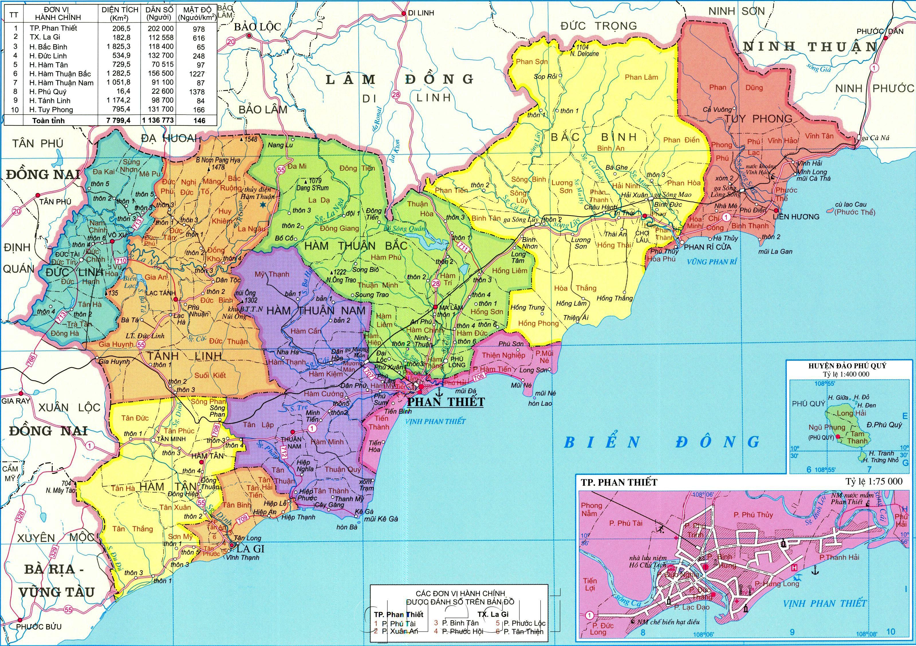 Bản đồ tỉnh Bình Thuận