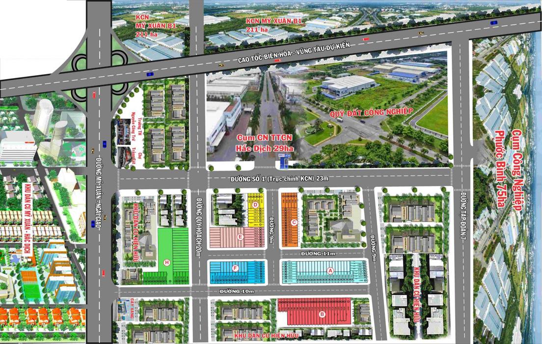 Mặt bằng dự án KDC Phú Mỹ Trảng Cát
