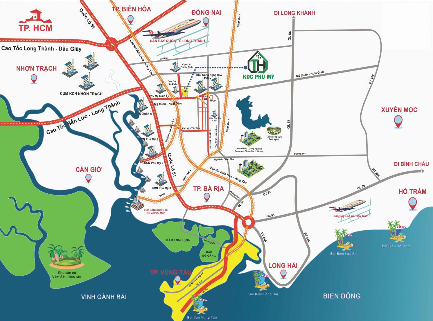 Vị trí đất nền KDC Phú Mỹ Trảng Cát