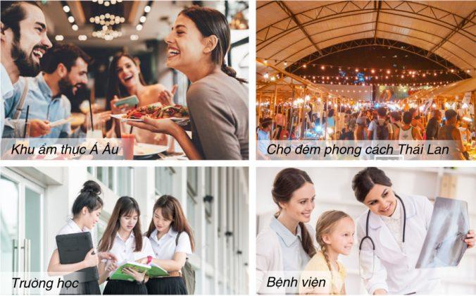 Khu ẩm thực - Trường học - Bệnh viện