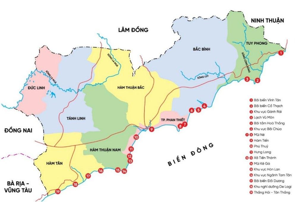 Vị trí tỉnh Bình Thuận